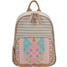 BGS2621 Aztec And Stripe Print Canvas Mini Backpack