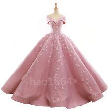 Rosa Encaje Vestido de quinceañera del hombro adolescentes Boda Formal Baile de graduación Baile Vestido