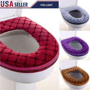 Blue SANGAITIANFU 1 Pcs Striped Toilet Seat Cushion Thick Knit Warm Washable Toilet Seat Cushion