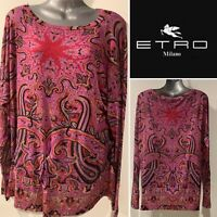 ETRO Italy Silk Mix Knit Jersey Pink, Red, Black Paisley Long Sleeve Top,Tunic M