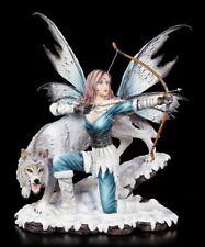 Elfen Figur - Lupara mit Wolf und schussbereitem Bogen - Fantasy Fee Engel Deko