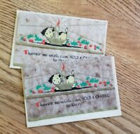 Vintage Christmas Card Puppy Vellum set of 2 cards NOS