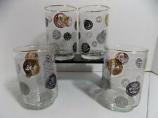 Libbey, Set of 4 Hi-Ball Glasses, International Coins, Gold, Silver, Black, VGVC