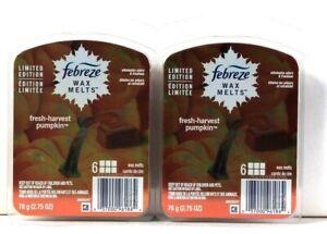 2 Packs Febreze 2.75 Oz Limited Edition Fresh Harvest Pumpkin 6 Cubes Wax Melts