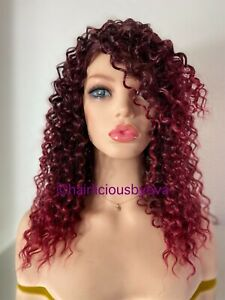 Kinky Curly Afro Wig Red Ombré Side Part 16 Inch Long