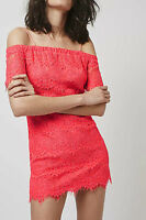 NEW TOPSHOP PINK LACE BARDOT DRESS OFF COLD SHOULDER HOLIDAY PARTY 6 8 RRP £36!