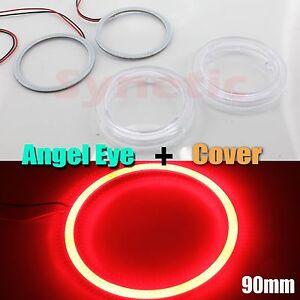 2x Angel Eye Halo Rings 90MM COB LED Light Fog Headlight White Red Blue + Cover