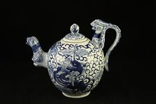 Chinese Qing Dynasty Porcelain Teapot Blue & White Figural Dragons Flower Signed