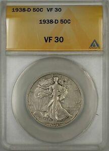 1938-D Walking Liberty Half Dollar Coin 50C ANACS VF 30