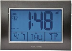 AcuRite Atomic Alarm Clock W/ Date, Day of Week & Temperature, Blue Back Light