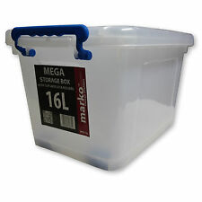 5 Pack of 16 Ltr Mega Heavy Duty Storage Boxes With Wheels and Clip Lids