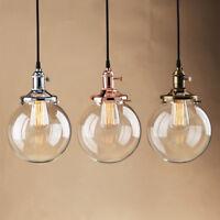 "7.9"" PLAIN CLEAR GLASS SHADE VINTAGE INDUSTRIAL PENDANT LIGHT CEILING LOFT LAMP"