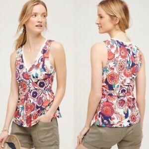 EUC Women's Medium Deletta Anthropologie Amalia Floral Peplum Sleeveless Blouse