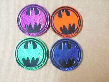 BATMAN BY WADDINGTON SLAMMERS LOT/SET OF (4) DIFFERENT BLUE, RED, GREEN, PURPLE