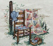 COUNTED CROSS STITCH Leisure Arts  BLUE BONNET Fan quilt on fence matted framed