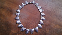 """Taxco Mexico Sterling Silver Sea Shell Scallop 17"""" Necklace ~ 80 Grams"""