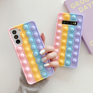 For Samsung Galaxy S21 S20 Ultra S10 Plus Case Cover Squeeze Toy Popit Push Soft
