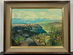 Signed McDonald 1969 Desert Scene Landscape Cactus Fine Art Gallery Oil Painting