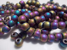 lot of 20 coloured hematite beads. Round, 4mm width with .5mm hole
