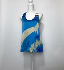 Tibi Silk Racerback Tank Blouse Sz 6 NWT Blue Tan Amazon Cyan $189
