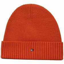 Tommy Hilfiger Pima Cotton Cashmere Men's Beanie Hat, Red Clay One Size