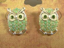 New Pair of Metal Owl Earrings with Sea Foam Peridot Colored Beads NWT #E1225