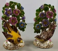 Two Vintage Hand Painted & Embossed Pottery Bird & Tree Figurines ~ Numbered