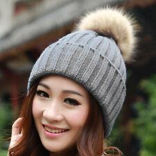 6af0eedcb32 Women Raccoon Fox Fur Pom Pom Winter Warm Beanie Bobble Hat Ski Knit  Crochet Cap