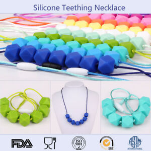 BPA Free Silicone Beads Baby Chewable Jewelry Polygon Teething Necklace Teether