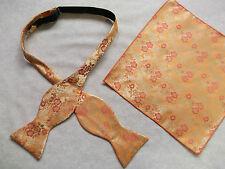 Bow Tie Mens NEW Self Tie Bowtie & Hankie Handkerchief GOLDEN ORANGE FLORAL