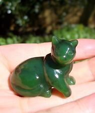 "1.5"" Canadian Top Grade Jade Carved Cat Figurine Display, Worry Stone"