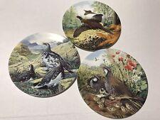 Royal Grafton 3 Plates Pheasants In Flight Flock Of Ptarmigan R Legged Partridge