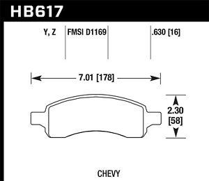 Disc Brake Pad Set-LT Front Hawk Perf HB617Y.630