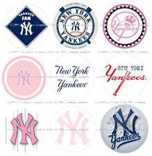 "63 Ct. New York Yankees Scrapbooking Bottle Cap 1"" Stickers Set #2 - Adhesive"