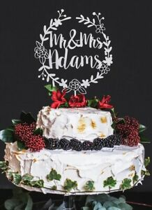 5 Colors Wreath Wedding Cake Topper Personalized Couple Custom Name