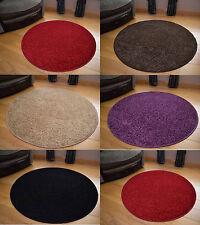 New Small Large Plain Round Circular Circle Circles Low Shaggy Pile Rugs Cheap
