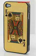 for iphone 4 4g hard case shiny gold king spades playing card + screen protector