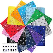 12 Pcs(1Dz) Paisly Print 100% Cotton New BANDANNA Hankerchief Scarf 27 Colors