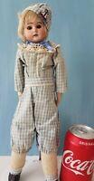 "Antique Boy Bisque Head Doll Ernst Heubach Horseshoe Mark 13.5""German Mohair Wig"