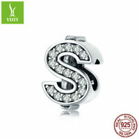 925 Sterling Silver Dollars Alphabet Charm Beads Fit Women Bracelet Pendant New