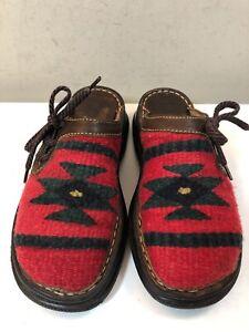 Womens BORN Tizoc Red Wool Aztec Print Blanket Slip-On Mule Clogs US 6M/EU 36.5