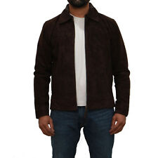 Mens Dark Brown Soft suede Leather Casual Smart Fitted Zipped Bomber Jacket