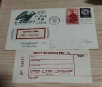 US Stamps Sc# FA1 1955 15C Certified Mail Stamped First Day Cover w/ Receipt FDC