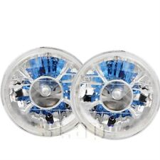 "7"" Inch Halo Projector LED Glass Lens Diamond Cut Headlight H4 Sealed Beam Lamp"