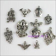 10Pcs Antiqued Tibetan Silver Tone DIY/Skull Mixed Charms Pendants