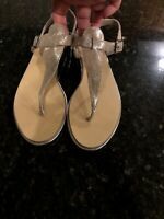 Fary Robin Leather Thong Sandals, Size 39/9, Silver, New!