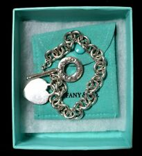 """TIFFANY & Co Sterling Silver 8"""" Toggle Chain Heart Tag Bracelet * Pouch & Box"""