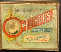 Antique 1890 THE GAME OF AUTHORS No. 210 + Instructions + 36 Cards Tokalon RARE
