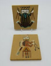"Navajo Sand Painting ""Water Creature"" & ""Hunchback"" Tiles Signed Begay Lot of 2"