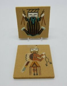 """Navajo Sand Painting """"Water Creature"""" & """"Hunchback"""" Tiles Signed Begay Lot of 2"""